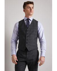 Hardy Amies - Tailored Fit Grey Windowpane Waistcoat - Lyst
