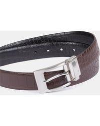 Moss London Black/burgundy Croc Reversible Belt