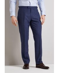Hardy Amies - Tailored Fit Blue Linen Check Trousers - Lyst