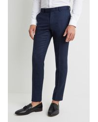 Moss London - Skinny/slim Fit Blue Twisted Trousers - Lyst