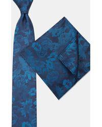 Moss London Navy & Petrol Tonal Flower Tie & Pocket Square Set - Blue