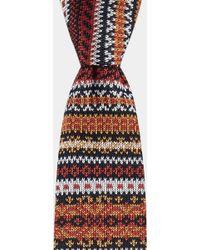 Moss London - Orange, White & Navy Fairisle Knitted Tie - Lyst