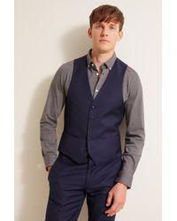 DKNY Slim Fit Navy Panama Waistcoat - Blue