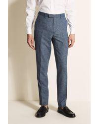 Moss London Slim Fit Blue Herringbone Tweed Pants