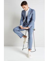 Ted Baker Gold Tailored Fit Light Blue Sharkskin Jacket - Metallic