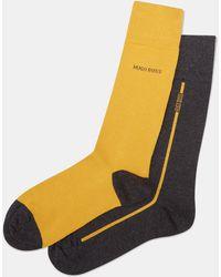BOSS - 2 Pack Grey Mustard Socks - Lyst