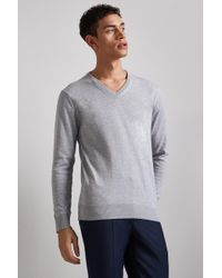 Moss London - Silver Long-sleeve Cotton V-neck Jumper - Lyst