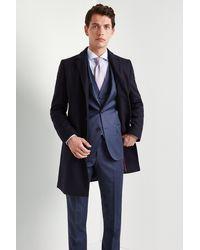 HUGO Navy Migor Overcoat - Blue