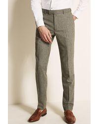 Moss London Slim Fit Sage Herringbone Tweed Pants - Green