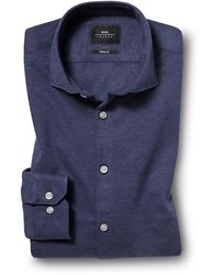 Moss London Skinny Fit Navy Single Cuff Knitted Pique Shirt - Blue