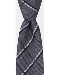 Moss London - Charcoal With Navy & White Crosshatch Tie - Lyst