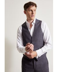 Ted Baker Tailored Fit Gray Lilac Check Waistcoat