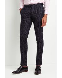 Moss Bros - Skinny Fit Ink Boucle Stripe Trousers - Lyst