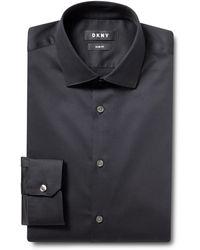 DKNY Mens Stretch Shirt Slim Fit Blue Single Cuff Long Sleeve Cotton Blend