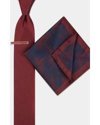 Moss London Wine Floral Tie, Pocket Square & Tie Bar Set - Multicolour