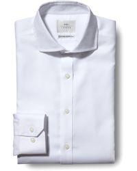 Moss Bros Extra Slim Fit White Single Cuff Textured Zero Iron Shirt