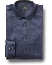 Moss Bros Extra Slim Fit Navy Single Cuff Pleated Dress Shirt - Blue