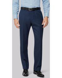 Moss Esq. - Regular Fit Blue Twill Suit Trousers - Lyst