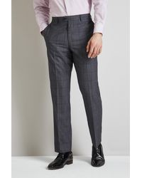 Moss Esq. Regular Fit Pale Blue Prince Of Wales Check Trousers