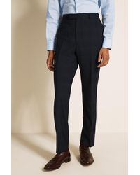 French Connection Slim Fit Navy Check Trousers - Blue