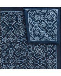Hardy Amies - Navy & Blue Mosaic Silk Pocket Square - Lyst