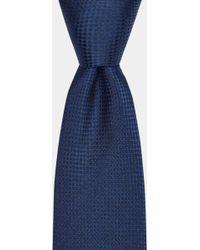 Moss Bros - Navy Semi-textured Silk Tie - Lyst