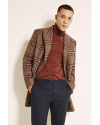Moss London Slim Fit Tan & Red Check Double Breasted Overcoat - Brown
