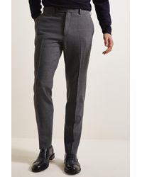 Ermenegildo Zegna Tailored Fit Charcoal Glen Check Pants - Gray