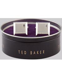 Ted Baker Silver Square Diamante Cufflink - Metallic