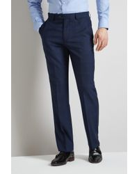 Moss Esq. - Regular Fit Bright Blue Check Trousers - Lyst
