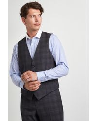 Ted Baker Gold Tailored Fit Grey With Burgundy Check Waistcoat - Metallic