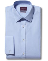 Moss Esq. Regular Fit Blue Double Cuff Shirt