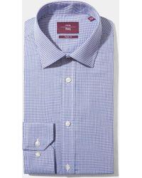 Moss Esq. - Regular Fit Blue Single Cuff Dobby Non Iron Shirt - Lyst
