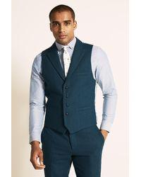 Moss London Slim Fit Teal Herringbone Tweed Pants - Blue