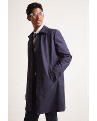 Moss London Slim Fit Navy Bonded Raincoat - Blue