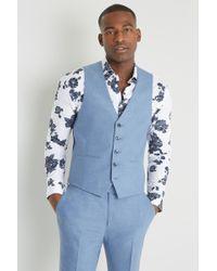 Moss London Slim Fit Chambray Waistcoat - Blue