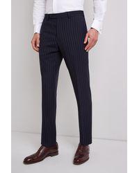 Ermenegildo Zegna Tailored Fit Navy Stripe Trousers - Blue