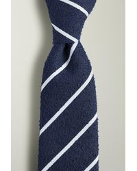 Moss London Navy With White Stripe Boucle Tie - Blue