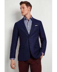 Hardy Amies - Tailored Fit Blue Herringbone Jacket - Lyst