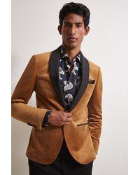 Moss London Slim Fit Camel Velvet Dresswear Jacket - Multicolour