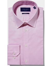Hardy Amies - Tailored Fit Pink Single Cuff Natural Stretch Twill Shirt - Lyst