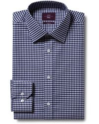 Moss Esq. Regular Fit Navy Single Cuff Gingham Check Non Iron Shirt - Blue