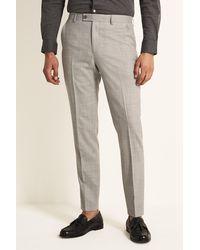 Ted Baker Slim Fit Light Grey Crepe Pants - Gray