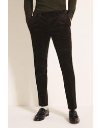 Moss London - Slim Fit Olive Corduroy Trousers - Lyst