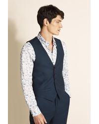 Ted Baker Tailored Fit Navy Semi Plain Waistcoat - Metallic