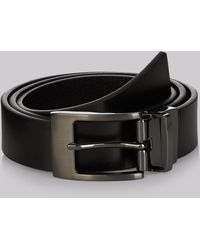 Moss London Black Textured Reversible Belt