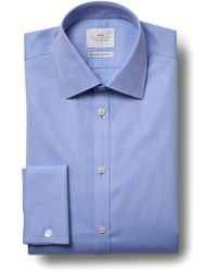Moss Bros - Extra Slim Fit Sky Double Cuff Textured Zero Iron Shirt - Lyst