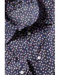 Moss London Slim Fit Navy Cheetah Print Shirt - Blue