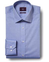 Moss Esq. Regular Fit Blue Single Cuff Oxford Non Iron Shirt