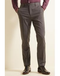 Ted Baker Slim Fit Grey Twill Pants - Gray